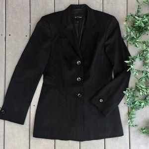 Escada New Wool 3 Button Black Tuxedo Blazer 34